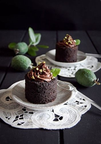 Chocolate cakes with feijoa mousse from Gourmet Recipes - love feijoas - and I miss them too
