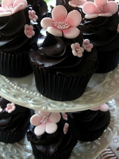 Chocolate iced cupcakes with cherry blossoms
