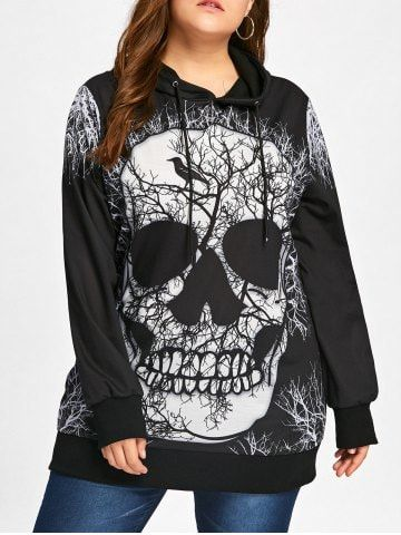 Plus size skull hoodie!!  I love, love, love this!!  I would wear this all year round, not just for Halloween!    GET $50 NOW | Join RoseGal: Get YOUR $50 NOW!https://www.rosegal.com/plus-size-hoodies/skull-print-plus-size-halloween-1305856.html?seid=7952455rg1305856