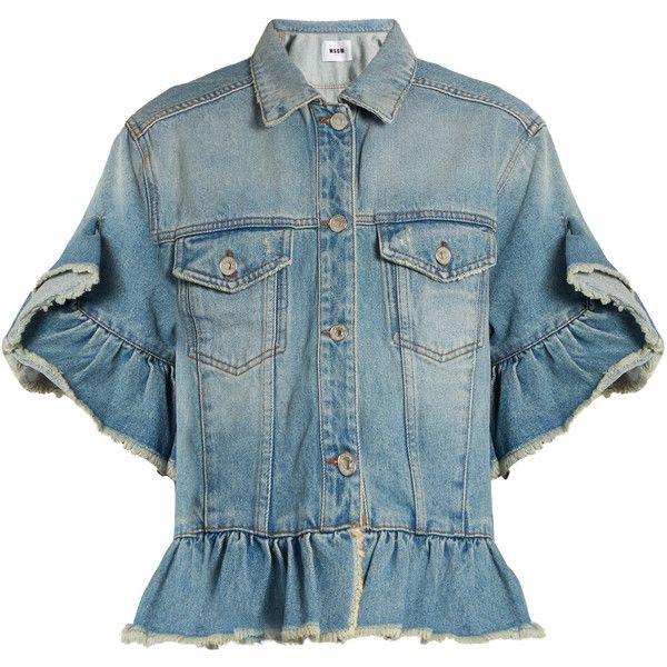 MSGM Ruffle-trimmed denim jacket (£215) ❤ liked on Polyvore featuring outerwear, jackets, denim, short sleeve jacket, short sleeve shrug cardigan, blue jackets, short sleeve shrug and ruffle jacket