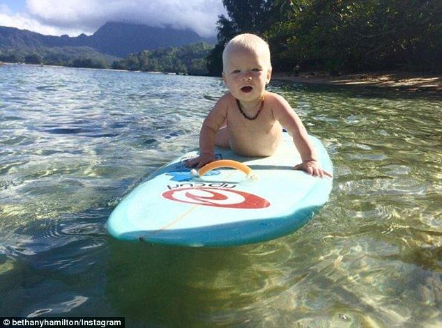 Bethany Hamilton shares cute picture of son Tobias hitting the waves | Daily Mail Online