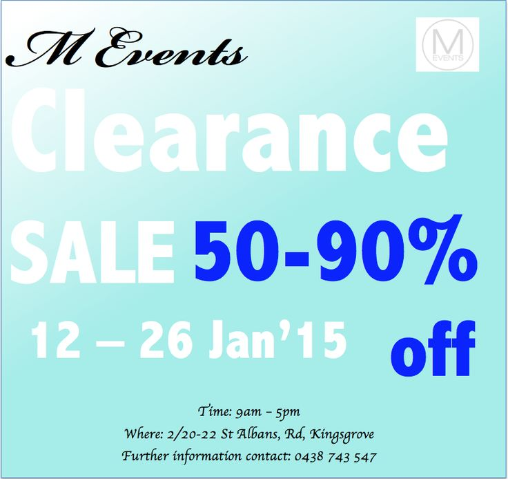@M Events Sydney we are inviting all general public and Industry event coordinators to our CLEARANCE SALE.