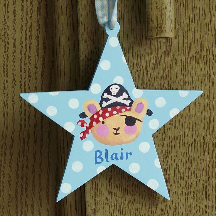 Pirate Bear Star door sign, a personalised star shaped name sign with a cute teddy bear in a pirate hat on the front by Moobaacluck by LovefromMoobaacluck on Etsy https://www.etsy.com/listing/386226868/pirate-bear-star-door-sign-a
