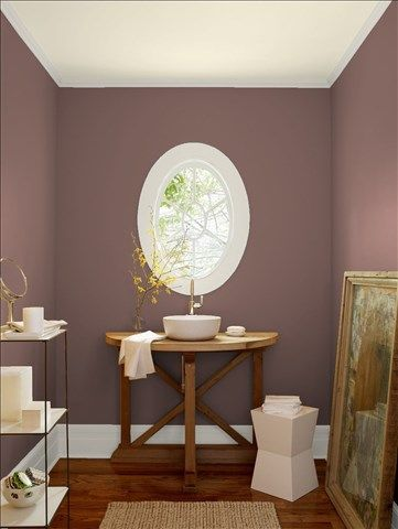 Look at the paint color combination I created with Benjamin Moore. Via @benjamin_moore. Wall: Sequoia 1245; Trim: Balboa Mist 1549; Ceiling: Opaline OC-33.