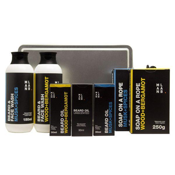 Kit Completo 3x Óleo para Barba + 2x Shampoo para Barba e Rosto + 2x Sabonete Masculino na Corda + Box metálico GRÁTIS.