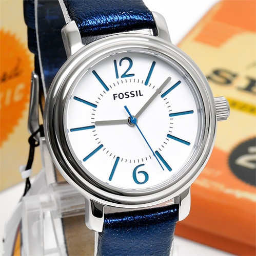 ★New FOSSIL Ladies Watch w/ White Face Dial, Navy Blue Leather Band Round