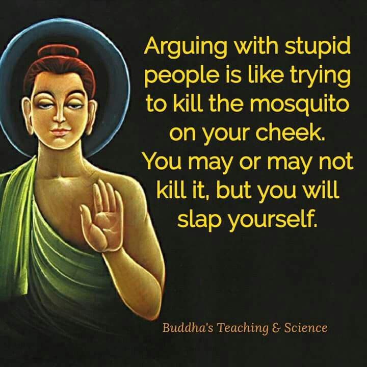 Arguing with stupid is like slapping yourself