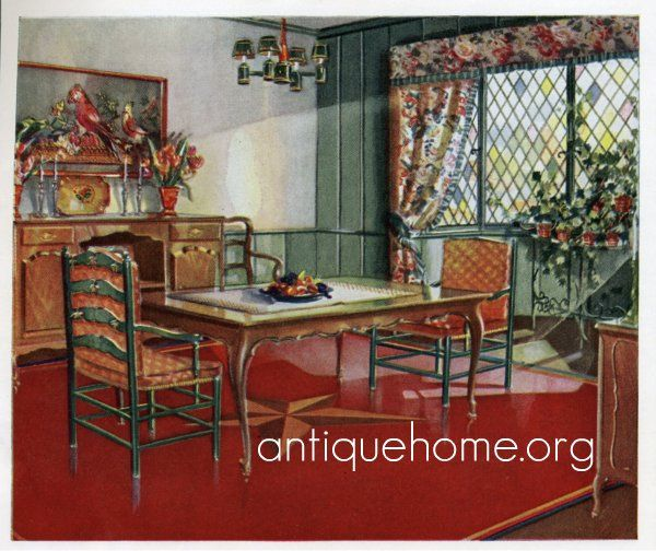 1930s Dining Room Design With Red As The Main Color Red Green Color Scheme