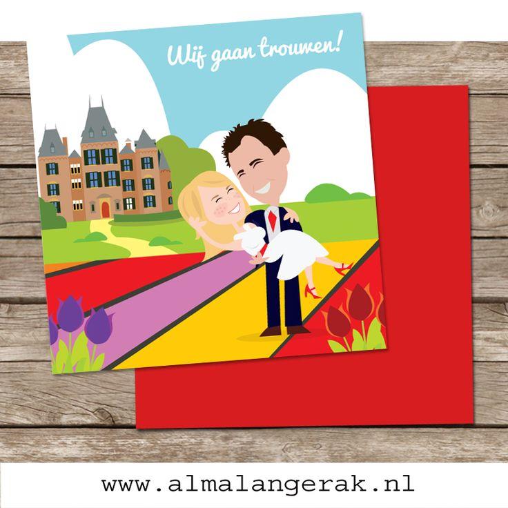 #trouwkaarten voor Wil en Marieke, die in de lente van 2015 trouwen bij #kasteel #Keukenhof in #Lisse. Zij kozen op mijn website een achtergrond van een #geboortekaartje uit (met #bollenvelden natuurlijk!) en vroegen of ik het #kasteel erbij wilde tekenen. Het resultaat: een #supervrolijk en #kleurrijk trouwkaartje.  #custom #made #wedding #invite #colours #cartoon #maatwerk #originele #trouwkaarten #kasteeltje #tulpen