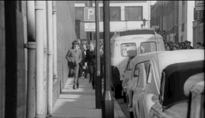 """When the Beatles flee from their adoring fans during the opening credits. 