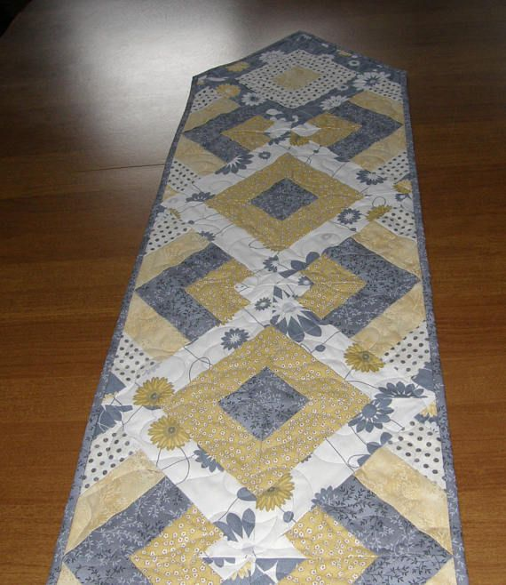 Quilted Table Runner Gray Yellow Gray Yellow Table Runner