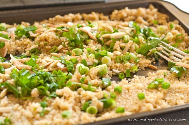 Toasted Quinoa Salad with Almonds, Green Onions and Cilantro takes a ...
