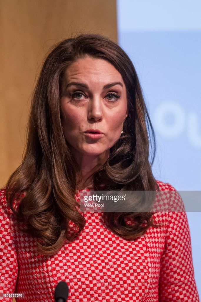 Catherine, Duchess of Cambridge speaks during the launch of maternal mental health films ahead of mother's day at Royal College of Obstetricians and Gynaecologists on March 23, 2017 in London, England. The educational films have been created by Best Beginnings, a charity partner of the Heads Together Campaign.