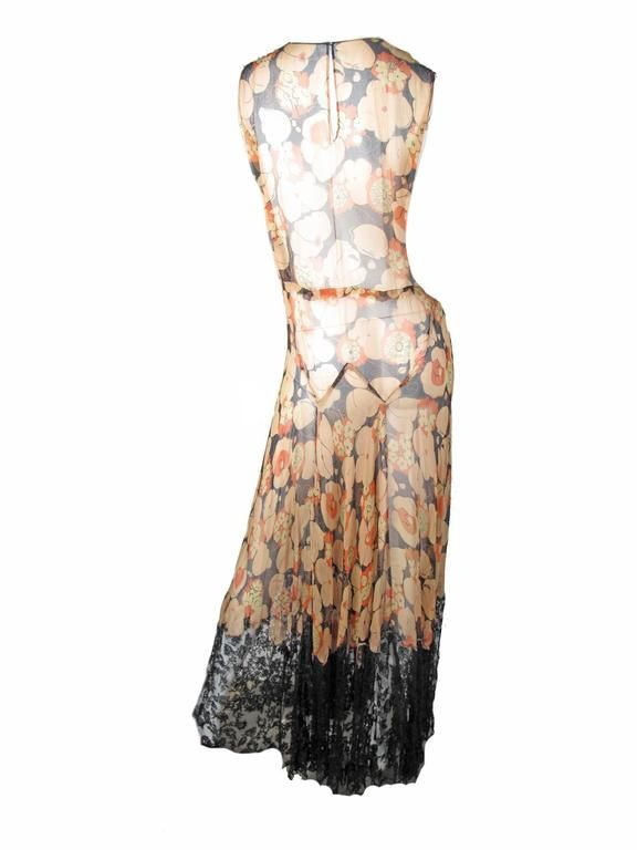 1920s - 30s Sheer Chiffon Floral Gown and Jacket with Lace 4