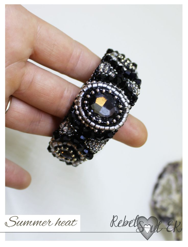 bracelet with embroidery details and leather belt by RebelSoulEK