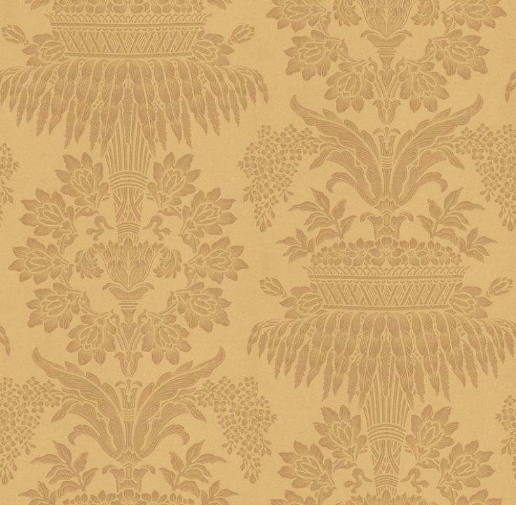 Long Gallery Gold (ZCDW08002) - Zoffany Wallpapers - A timeless, grand damask of floral bouquets and streaming leaves in golden-cream and gold. Evoke opulence and elegance with this large-scale pattern repeat of 101.8cm. Additional colourways also available. Please request sample for true colour match.
