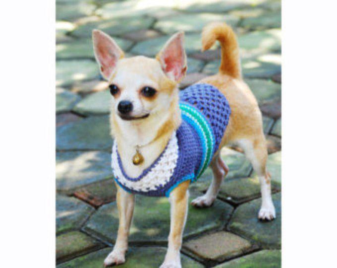 Blauwe turkoois kleine hond truien handgemaakte haak katoen hond Shirts Teacup Chihuahua Dog Gifts DK849 Myknitt gratis verzending