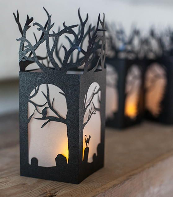 craft these spooky and chic diy lanterns made with black metallic paper and use a homemade lanternsdiy paper lanternslantern decorationshalloween - How To Make Paper Halloween Decorations