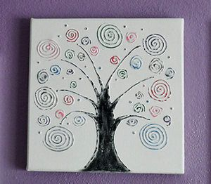 swirl tree canvas art - Pictures To Paint For Children