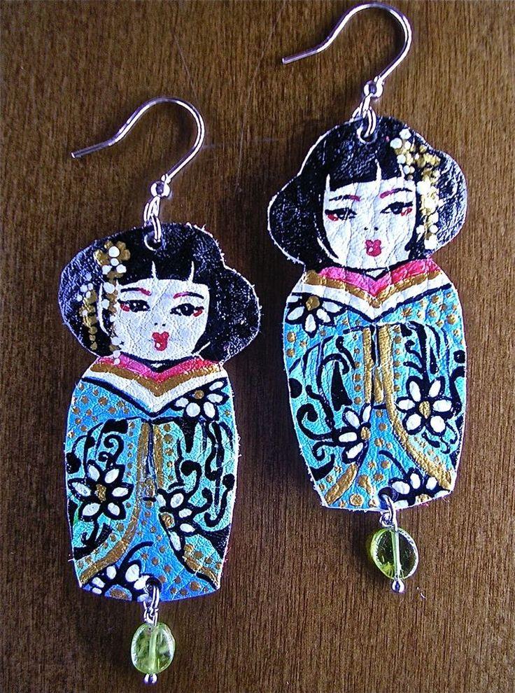 Orecchini Earrings Dipinti A Mano Geisha Twins