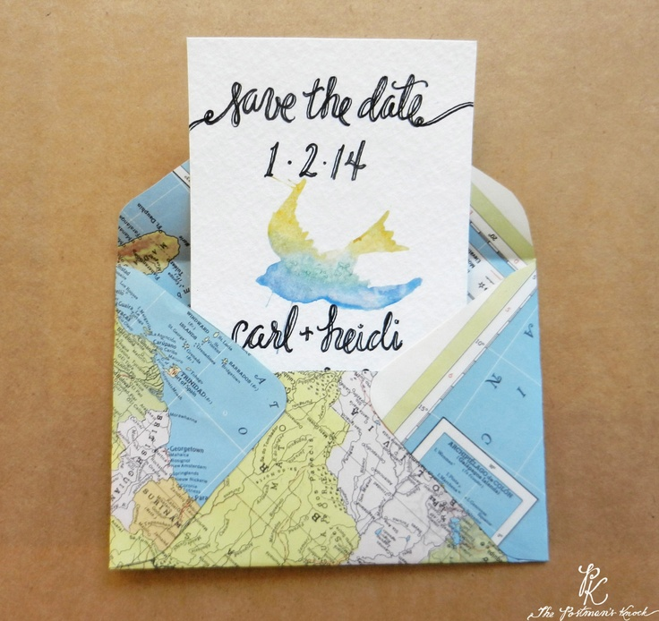 cruise wedding save the date announcement%0A Cute map envelope