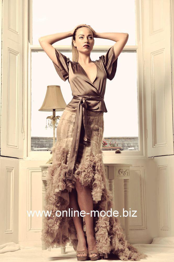 Vokuhila Abendkleid in Bronze Braun von www.online-mode.biz