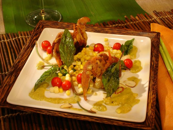 Pan-Fried Soft Shell Crab with Sweet Corn, Wild Ramps and Spicy Almond ...