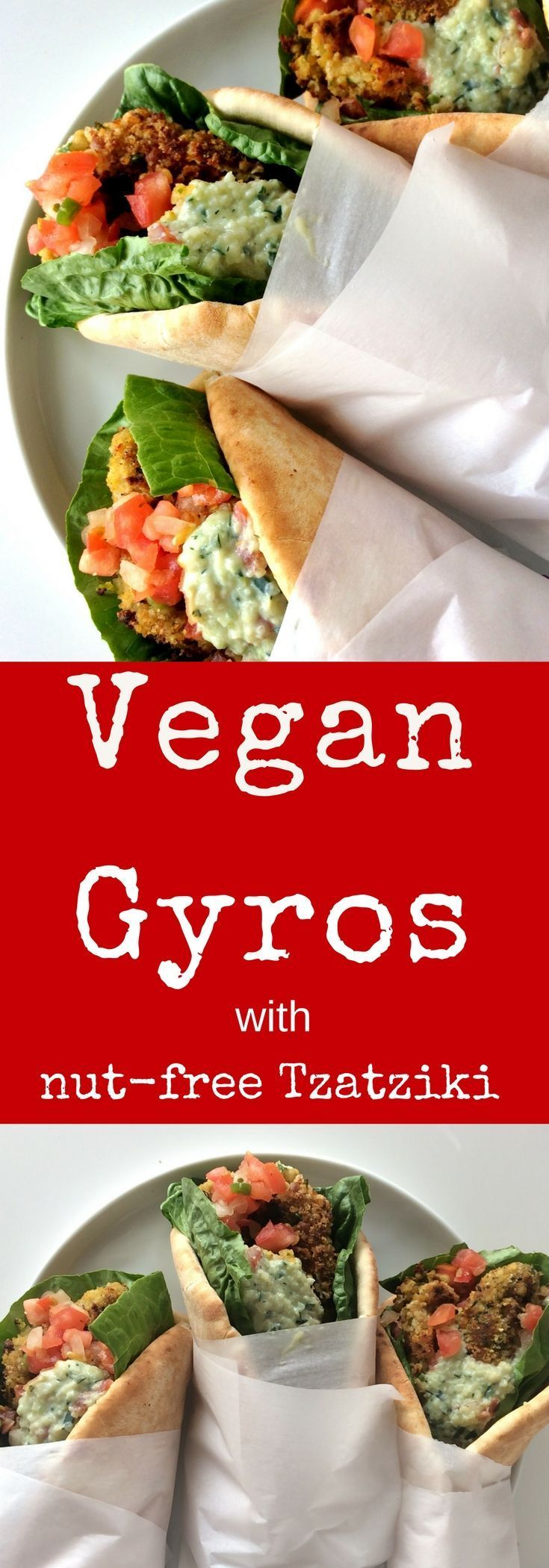 Easy #vegan gyros made with seasoned chickpea falafels, stuffed into warm pitas and topped with nut free tzatziki sauce. A simple, tasty lunch or weeknight dinner.