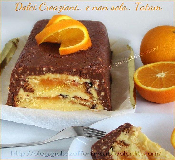 Torta scrigno alla arancia con guscio al cioccolato croccante
