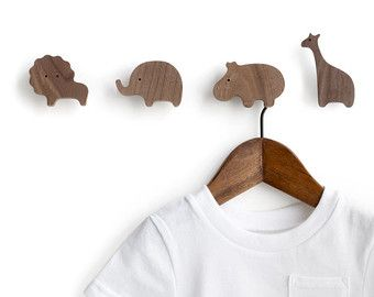 Animal wall hooks set of 4 by magszilla on Etsy