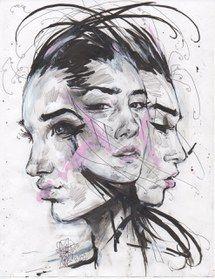 искусство, рисунок, девушка, живопись