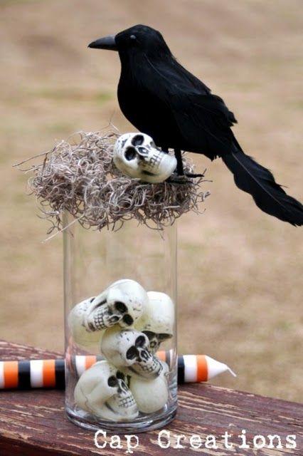 Cap Creations:~ DIY Dollar Tree Halloween Decor (vase, cool crow, bag of