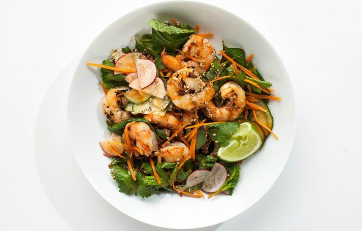 Grilled Sesame Shrimp with Herb Salad