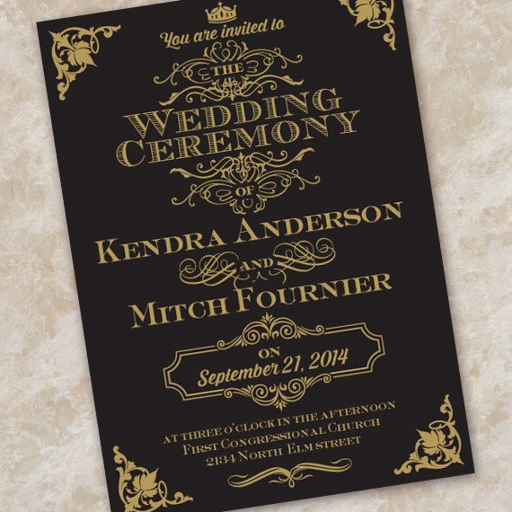 This elegant wedding invitation (also nice as a save the date card, bridal shower invitation, recital program, or graduation announcement) has