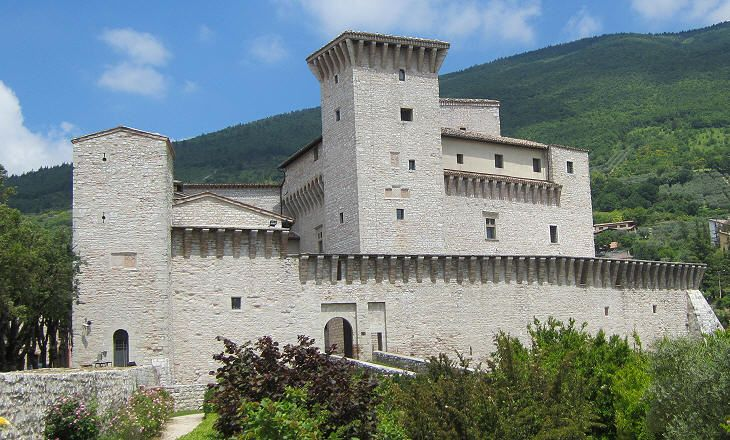 "13th century castle called ""Rocca Flea"" in Gualdo Tadino, Umbria, Italy"
