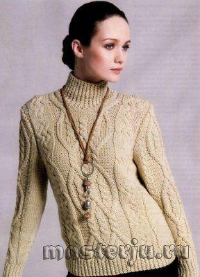 женский свитер натурального цвета с косичками