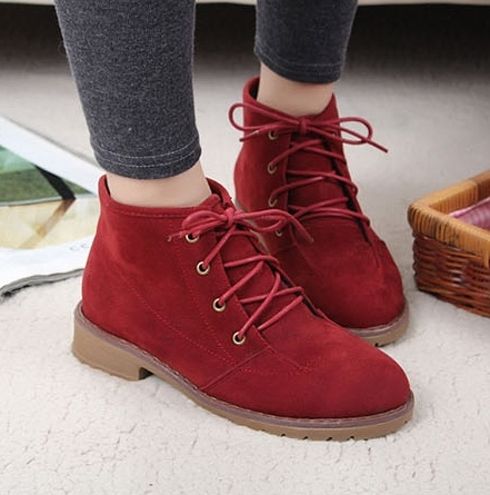 Korean shoes lace women sneakers wine red
