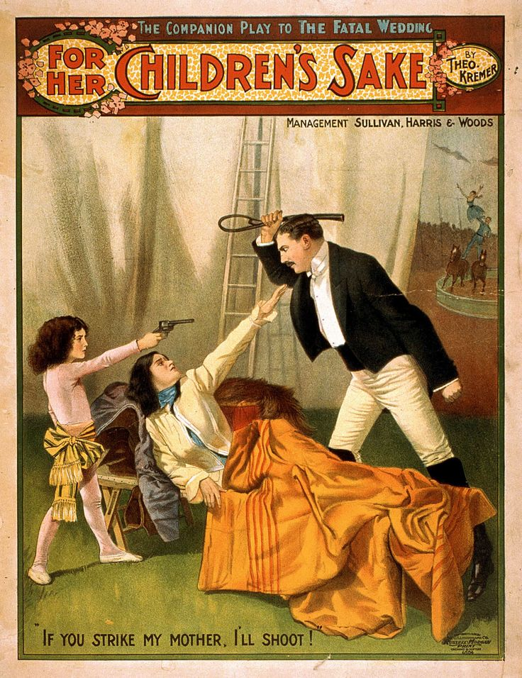 Theo Kremer's Vintage Theatrical Poster For Her CHILDREN'S SAKE, 1902 classic, domestic life, high resolution, melodrama, performing arts, play, stage, vintage #TheatricalPosters