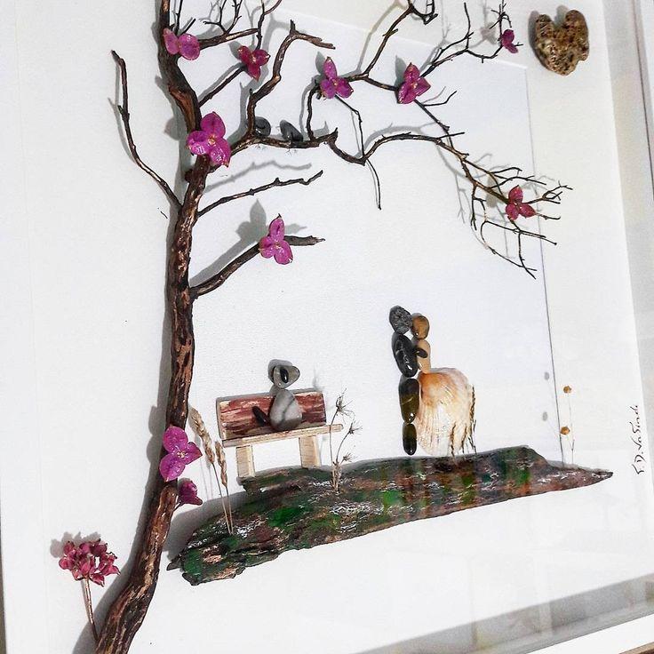 Driftwood F.D.Vafiadi pebble art, couple with dog, wedding gift