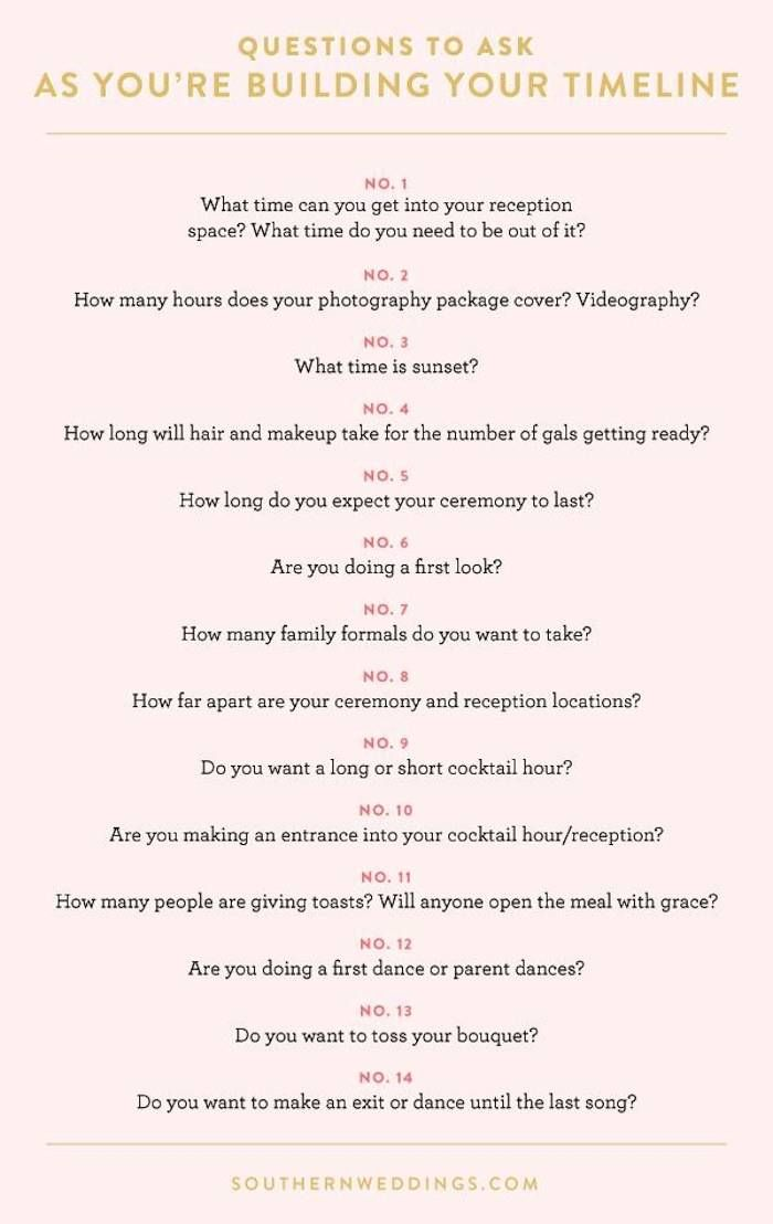 I love this quick survey from Southern Weddings! These 14 questions are designed to get you thinking about what you really want your wedding day to look like.  - Southern Weddings