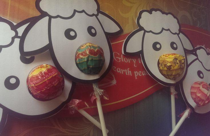 Cute Christmas Sheep Craft with Bible Verse and Chupa Chups