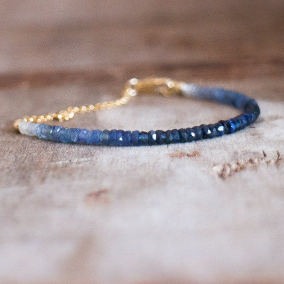Ombre Sapphire Bracelet in Silver Or Gold Genuine by AbizaJewelry