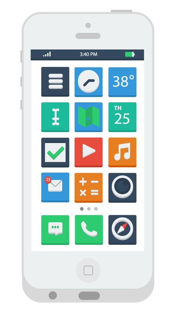 Flat iPhone Concept by André Wyatt, via Behance
