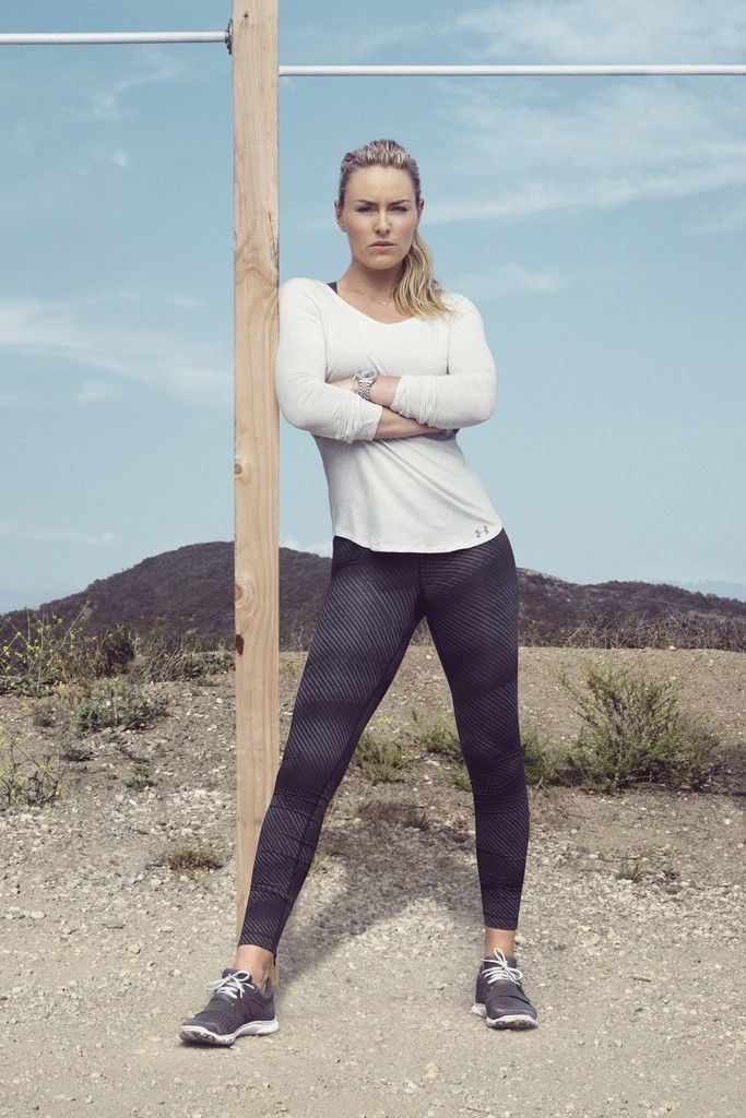 """There's a new catchphrase at Under Armour these days: """"womanifesto."""" Here, Under Armour's ad featuring Lindsey Vonn. [Courtesy Photo]"""