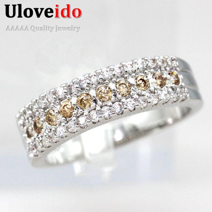 Uloveido 15% de descuento de las mujeres anillos con piedras de cristal joyas de plata anillo de compromiso romántico bijoux acessorios para mulher y014