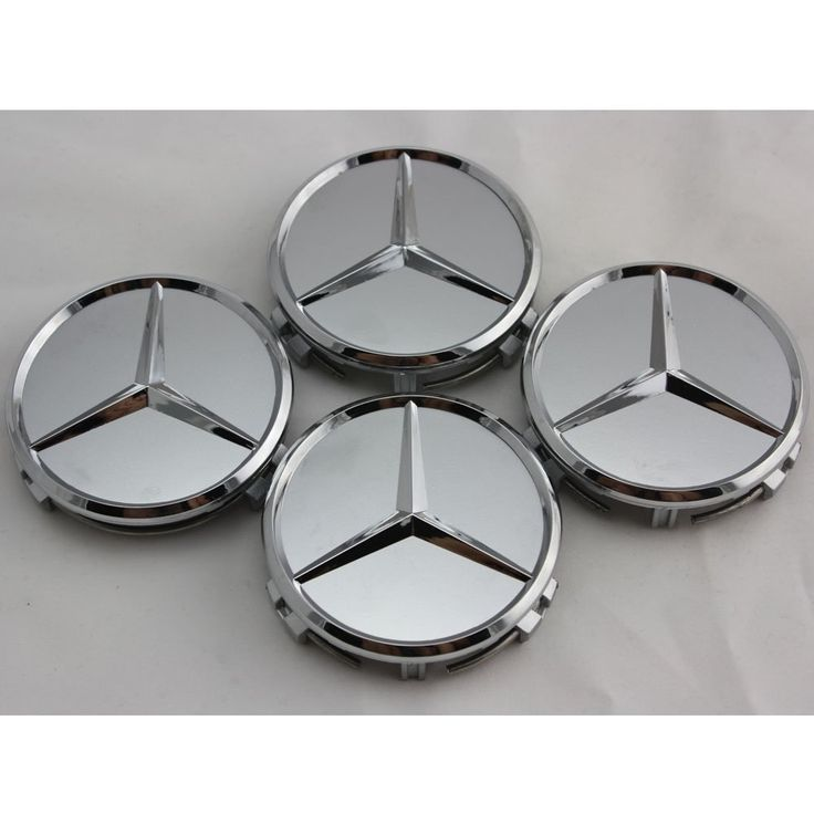 4 x silver wheel center caps emblems mercedes benz 75mm for Mercedes benz wheel cap emblem