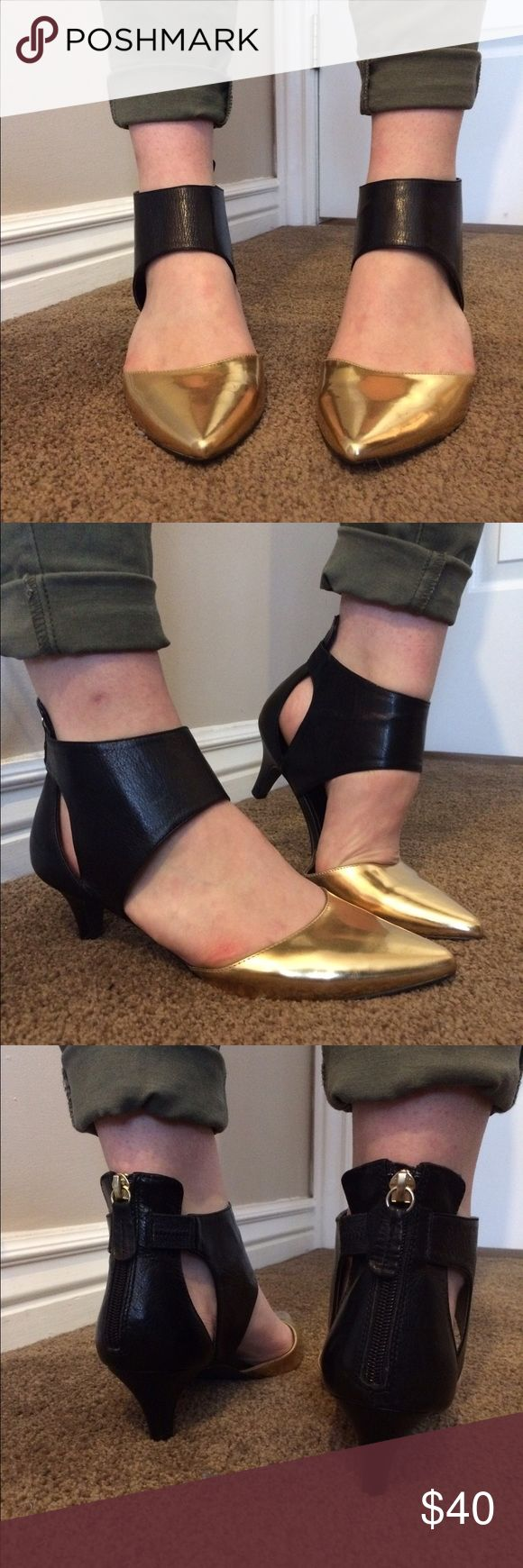 """Kelsi Dagger heels These have been my favorite""""out on the town"""" shoes!  About a 2 in heel so they are fine to walk in!  Gold metallic toe complemented with black.  Zipper back.  Amazing! Kelsi Dagger Shoes Heels"""