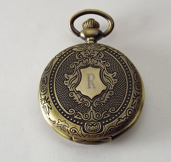 Personalized Pocket Watch Custom Engraved Bronze by AnniesHours