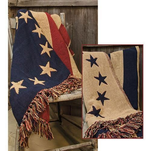 OLD GLORY BETSEY ROSS FLAG WOVEN THROW Farmhouse Country Primitive Rustic #Unbranded #Country