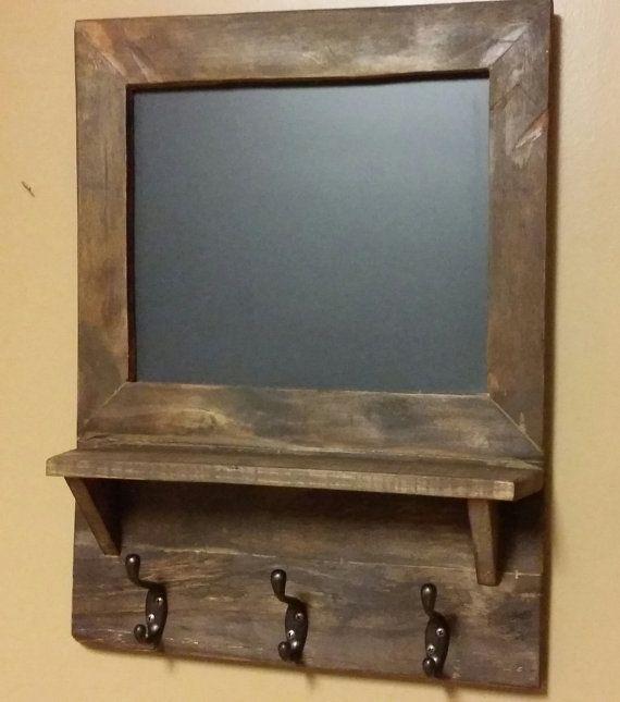 Rustic chalkboard shelf ,coat rack, hall shelf, reclaimed wood Country decor chalkboard shelf, primitive chalk board shelf